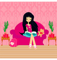 Teen girl Reading A Book vector image