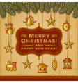 Vintage Christmas Card With Decorations vector image