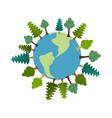 earth and trees green planet vegetation on land vector image