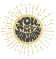 you are my sunshine lettering vector image