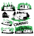 set of different motorhomes and points camping vector image