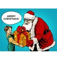 Merry Christmas Santa Claus gift gives the child vector image