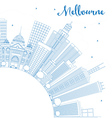 Outline Melbourne Skyline with Blue Buildings vector image