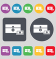 chest icon sign A set of 12 colored buttons Flat vector image
