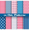Chic different seamless patterns tiling vector image