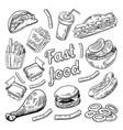 fast food restaurant menu hand drawn burger vector image