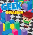 geek boy invasion video game asset isometric vector image