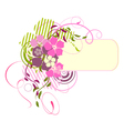pink banner with flowers vector image