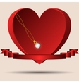 Red heart with a ribbon and a gold chain diamond vector image