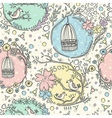 Seamless pattern with birdcages flowers and birds vector image