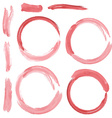set of red grunge circle brush strokes Watercolor vector image