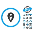 Yuan Map Marker Flat Icon with Bonus vector image