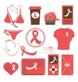 Cute breast cancer awareness items collection vector image