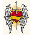 heart with sword and wings vector image vector image
