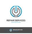 Repair services logo with wrench and power button vector image