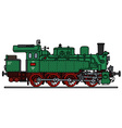 Old green steam locomotive vector image