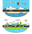 Different vehicle on a road City life minimalism c vector image vector image