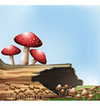 A mushroom above the stump vector image