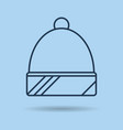 blue isolated linear icon winter spotrswear - hat vector image