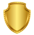 Empty gold shield Blank metal badge with rivets vector image
