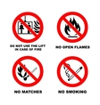 No smoking No open flame no matches no lift vector image