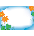 blue frame with orange flowers vector image vector image