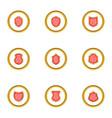 shiels sticker icons set cartoon style vector image