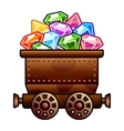 Old mine cart with diamonds vector image