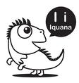I Iguana cartoon and alphabet for children to vector image