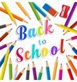 Back to school Rainbow pencils and eraser vector image