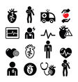 Heart disease heart attack icons vector image