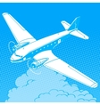 Airplane in the clouds vintage retro travel vector image