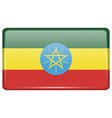 Flags Ethiopia in the form of a magnet on vector image