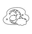 line cute moon with sleep hat design and clouds vector image