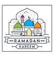 ramadan kareem with simple modern mosque vector image