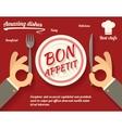 Restaurant Promotion concept Symbol Hands Cutlery vector image