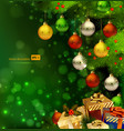 green Christmas background vector image vector image