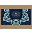 Wedding navy blue vintage floral card vector image