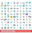 100 hi-tech icons set cartoon style vector image