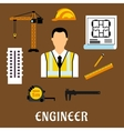 Engineer and construction flat icons vector image