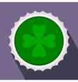 Rosette with four leaf clover flat icon vector image