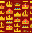 cartoon royal golden crown background pattern vector image