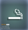 cigarette smoke icon symbol on the blue-green vector image