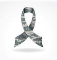 digital camo military support ribbon vector image