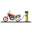 motorcycle at the gas station vector image