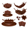 realistic chocolate form icon set vector image