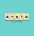 flat icon stylish background poker two pairs vector image