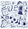 Drawing pen on notebook sheet girlfriend vector image