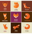 Fox icons and elements vector image