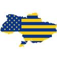 usa and ukraine mixed flag vector image